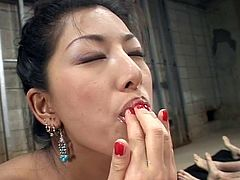 Superb japanese beauty gets filled with cream in horny asian bukkake scene