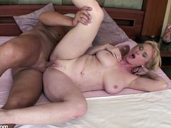 A dirty mature bitch sucks on a hard prick and then gets it shoved balls deep into her motherfucking cooch, check it out!