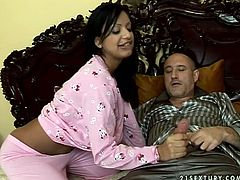 Delicious Indian prostitute with nice round curves seduces her white sugar daddy before he goes to bed. She rubs his penis with her hand through pajama pants before she clings to it to give a thorough blowjob.