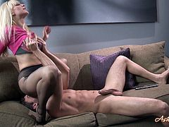 Alluring blonde Ashley Fires feels amazing rubbing on a massive dick during pantyhose scene