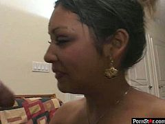 Dirty Indian hoochie shows off her small tits with black nipples and later sucks stiff cock intensively. She is hot tempered Indian slut who is ready to turn all your dirty dreams into reality.