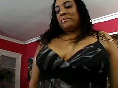 Trashy black hoe with fat belly, rounded ample butt and big saggy boobs plays with disgusting wet hairy clam. Thirsty guy licks her cunt actively.