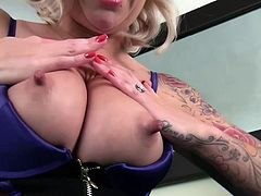Pres play on this heart stopping solo scene where a gorgeous blonde mom takes off her sexy lingerie to play with her wet pussy.