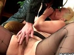 Ripped pantyhose make fucking a mature easy
