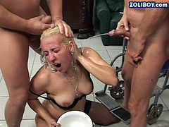This insatiable whore is a talented cock sucker and she is here to prove it. I'm pretty sure you will appreciate her experience. Sex-starved slut is always on her knees and always aims to please what she is given. Damn, her cock sucking skills are above all praise! Press play and enjoy the hottest gangbang scene ever!