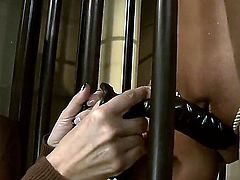 The tables are turned and the Dominatrix becomes the slave, tied up in her own dungeon, and forced to beg, even suck her own filthy sex toys. How humiliating .... How hot.