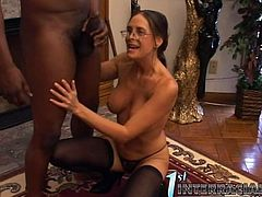 She calls in this black dude to discuss his behavior. Well, that was a nice discussion, as he manages to seduce and bang this nerd!
