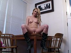 Check out this amazing solo sex scene with blonde slut as she sticks a dildo in her fucking pussy.