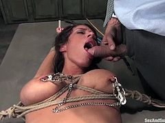 She gets tied up hard and babe feels a lot of pain, getting her nipples twitched. But the size and taste of that thick cock compensates it all!