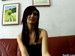 Salty brunette in black stockings masturbates her shaved pussy in font of the cam. Her playful fingers penetrate between her pussy labia and she rolls her eyes with pleasure.