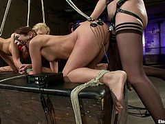 Apart from tying them up and placing some electrical devices on them, this dominatrix is going to strapon fuck these two chicks!