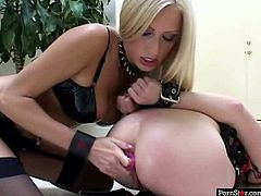 Gothic brunette hussy in peppering lingerie and stockings lies on the floor with legs wide open while another hottie drills her tasty looking cunt with a dildo later switching to her asshole until two horny dudes join them for massive group sex orgy by Pornstar.