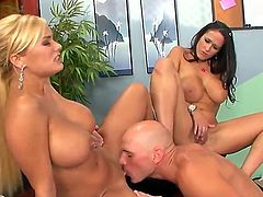 Johnny Sins enjoys in meeting his new assistant, Shyla Stylez, but his old secretary Carmella Bing keeps coming to work and seducing him for a hot office sex, so he uses them both