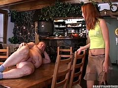 Wondrous red haired chick gets tipsy and seduced by spoiled fat old man. This ugly horny bastard takes a chance to fuck her wet pussy from behind right on the table in the bar. Then spoiled girlie opens her mouth to be fed with gooey sperm.