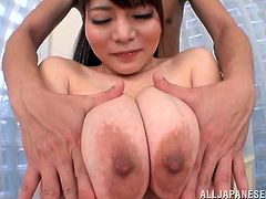 Check out Kurumi's big boobs, this whore has a pair of melons that are just begging for attention. The masked guy slowly but firmly gropes her breasts and then gives them a lick. Kurumi likes that a lot and it's making her horny as hell. Curious what will happen with her soon?