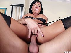 Brunette pornstar in black stockings enjoys hardcore sex that smashes her tight pussy