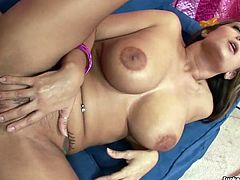 Voluptuous porn model Trina Michaels is feisty porn performer. She is incredibly good in blowjob action. Trina gets nailed hard in her twat in a missionary position in a steamy PornStar clip.