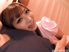 Adorable Asian girl in sexy uniform gives skillful blowjob to a patient in POV scenes. After that she lies down on a bed and gets her trimmed pussy fucked deep.