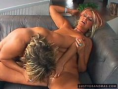 Well, this tanned blond whore has big ass, which she demonstrates with delight. Dirty-minded nympho has a strong desire to gain delight. But booty tanned bitch is too lazy. She spreads legs wide orders her blond BF polish her mature cunt as well as anus with dildos.
