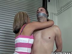Nasty blonde is eager for sex pleasure and jerks off dick of one submissive dude. She gives him steamy hand job and dreams of his semen.