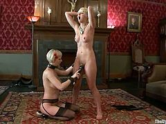 Short-haired blondes Cherry Torn and Chloe Camilla are playing filthy games with some dude indoors. They please the guy with a nice blowjob and then show their pussy-eating skills to each other.