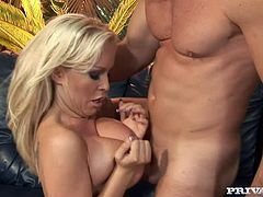 Sexy blonde milf Jessica Moore is trying to please some horny man. She licks his dick and rubs it against her tits and then gets her pink cave and chocolate eye pounded in many positions.