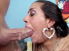 Hot dark-haired milf Lyla Storm is playing dirty games with some guy indoors. The dude drives his prick deep into Lyla's mouth and fucks it as hard as he can.