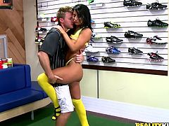 This guy met the brunette babe Sophia Bella buying soccer clothes. Somehow it all ended up with hot sex in the sports store.