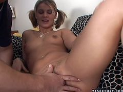 Cuddly amateur chick with perky tits wearing ponytails pokes her twat with baseball bat. Then she pisses in a bawl and takes golden shower.