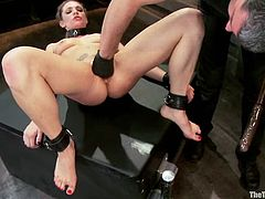 Sexy blonde Bailey Blue is playing dirty games with Rob Blu in a basement. Rob binds and torments Bailey, then makes her suck his dick and drills her pussy with toys afterwards.