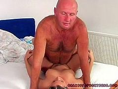 Steamy blond fairy stands in doggy pose getting impaled with pressure from behind by bald dad before he ejaculates abundantly on her pretty face.