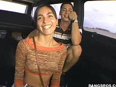 This babe's got an amazing ass and in this hardcore video, you'll be able to have a look at it as she rides this guy's big cock in the bang bus.