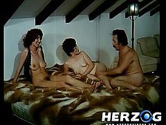 These hot babes are enjoying a large dick in one staggering vintage hardcore group action