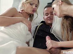 Alexis Crystal and Samantha Jolie are two gorgeous babes in wedding dresses. They decide to do some wild thing right before the marriage. They give a blowjob and then get fucked by a guy.