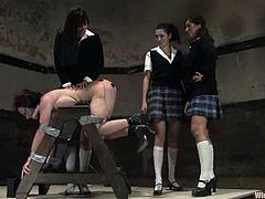 This teacher was mean to the school girls who planned a revenge... and they ended up doing crazy BDSM stuff with her with wicked torture and strapon fucking!