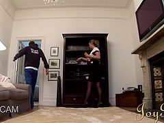 cute blonde milf sucks cock