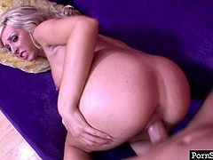 Hot blooded blond MILF with big enhanced tits gets fucked up missionary and doggy until a horny dude shots on her juicy ass with sticky sperm in sultry pov sex video by Pornstar.
