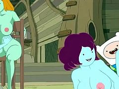 Jake is out on an adventure so Finn has the treehouse all to himself. He invites over Marceline and her Vampire friends for an hardcore orgy. Finn fucks his Vampire crush's pussy from behind while the other vampires lick each other's nipples.