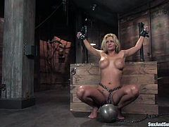This busty and super naughty babe got a damn hot body. She loves being painsulted and fucked and she gets it in this hot BDSM action!