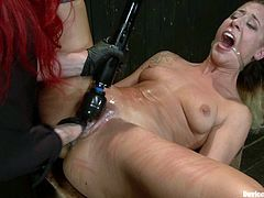 This amazing sex slave is being inflicted to a ridiculous pain. She gets bondaged in chains and then Mz Berlin starts attaching some twitches on her skin.
