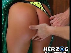 Heidi puts on a crotchless pair of underwear and masturbates for a man. Then, he gives her pussy a hardcore fuck.
