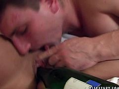 Horny woman is a bodybuilder. She is solid built woman. Watch her getting her snatch pleased with a head of champagne bottle. Later she performs awesome blowjob skills taking cock really deep in her throat.
