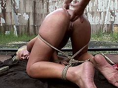 Filthy blond hoe bends down with legs and hands tied before a rapacious domina forces her to suck her strap on, which she later uses to drill her ruined pussy in BDSM-involved sex clip by 21 Sextury.