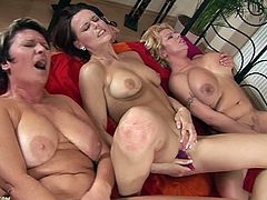 Three mature lesbian broads engage in a hot-ass threesome that will make you go fucking ballistic. Check it out right fucking here!