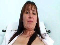 This aged wife is the senior Nurse inside the gyno cliNic. sthis chab got extrEmly hairy pussy, that babe Will open her bushy bush around the gyno alsol called the speculum.