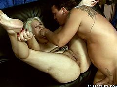 Voracious granny is cock addicted woman. She enjoys getting rammed deep in her throbbing vagina in a missionary position. Then she serves her face for a huge facial cumshot scene.
