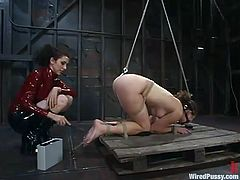 Princess Donna Dolore is having fun with some pretty chick in a basement. She binds the girl, attaches clothespegs to her tits and then fingers and toys her nice pussy.