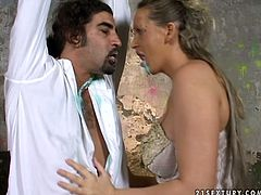 Perverse blond whore and two aroused wanker set fun sexual scene where they put on Halloween costumes and heavy makeup before a seductive MILF kneels to oral fuck sturdy penis.