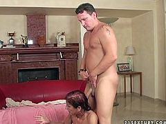 Kinky pale redhead with ugly tits is ready for threesome. Spoiled nympho desires to be fucked from behind right on the floor by old fat man. But the first thing to do is to suck cocks for gooey sperm.