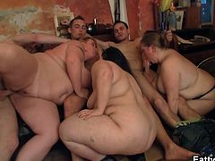 Check these naughty and chubby brunette chicks taking turns sucking and riding their men's dongs at the pub in this amazing orgy video.